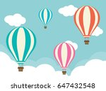 four hot air balloons with...   Shutterstock .eps vector #647432548