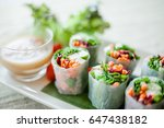 fresh spring roll | Shutterstock . vector #647438182