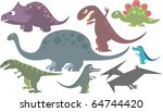 colorful dinosaur collection of ... | Shutterstock . vector #64744420