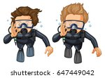 two scuba divers with hand... | Shutterstock .eps vector #647449042