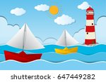 two paper boats sailing at sea... | Shutterstock .eps vector #647449282