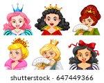different characters of queens...   Shutterstock .eps vector #647449366