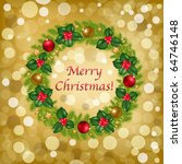 christmas wreath with new year... | Shutterstock . vector #64746148