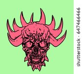 red skull of a demon with crown ...   Shutterstock .eps vector #647466466