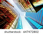 glass commercial skyscrapers in ... | Shutterstock . vector #647472802