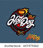 hot dog logo badge. vector logo ... | Shutterstock .eps vector #647474362