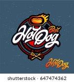 hot dog logo badge. vector logo ... | Shutterstock .eps vector #647474362