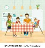 smiling family having dinner in ... | Shutterstock .eps vector #647486332