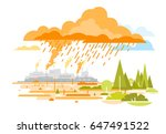 acid rain emissions from plants | Shutterstock .eps vector #647491522