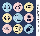set of 9 headphone filled icons ...
