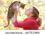 Young Attractive Girl With Cat...