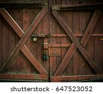 Old Wooden Gate With Padlocks....