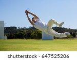 full length of player diving to ... | Shutterstock . vector #647525206