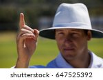 umpire gesturing out sign...   Shutterstock . vector #647525392