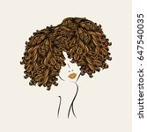 cute girl with curly  afro... | Shutterstock .eps vector #647540035