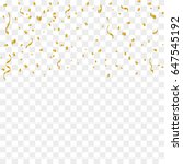 golden confetti and ribbon... | Shutterstock .eps vector #647545192