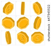 coin dollar sign lowpoly... | Shutterstock .eps vector #647545522