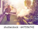 the man's fogging to eliminate... | Shutterstock . vector #647556742