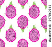 tropical exotic dragon fruit... | Shutterstock .eps vector #647560966