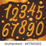 numbers set made of caramel ... | Shutterstock .eps vector #647565202
