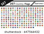set 207 country flags heart... | Shutterstock .eps vector #647566432