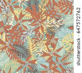 tropical pattern with palm... | Shutterstock .eps vector #647572762