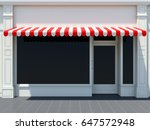 white shopfront in the sun  ...   Shutterstock . vector #647572948