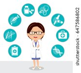 confident female doctor with... | Shutterstock .eps vector #647586802