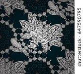 seamless pattern on blue... | Shutterstock .eps vector #647590795