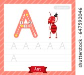 letter a uppercase tracing... | Shutterstock .eps vector #647592046