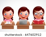 girl kid vector characters set. ... | Shutterstock .eps vector #647602912