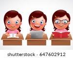 girl kid vector characters set. ... | Shutterstock .eps vector #647602912