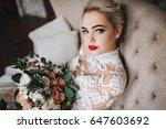 beautiful bride in a lace dress ... | Shutterstock . vector #647603692