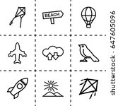 sky icon. set of 9 sky outline... | Shutterstock .eps vector #647605096