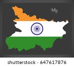 bihar map with indian national...   Shutterstock .eps vector #647617876