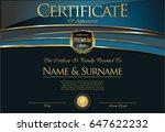 certificate or diploma retro... | Shutterstock .eps vector #647622232