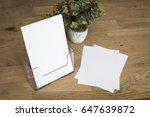 flyer counter display mockup | Shutterstock . vector #647639872