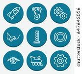 set of 9 engine outline icons... | Shutterstock .eps vector #647642056