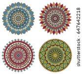 set of color floral mandalas ... | Shutterstock .eps vector #647642218