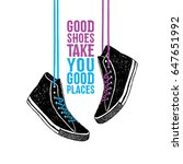 hand drawn badge with sneakers... | Shutterstock .eps vector #647651992