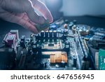 the technician is putting the... | Shutterstock . vector #647656945