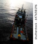 Small photo of Supply vessel and basket transfer offshore