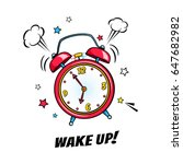 comic alarm clock ringing and... | Shutterstock .eps vector #647682982