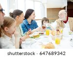 big family having breakfast or... | Shutterstock . vector #647689342