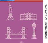 united states landmarks  us... | Shutterstock .eps vector #647695396