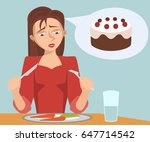 sad girl eating diet food... | Shutterstock .eps vector #647714542