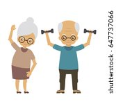 old people doing exercises.... | Shutterstock .eps vector #647737066