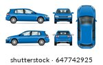 blue vector car on white ... | Shutterstock .eps vector #647742925