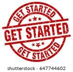 get started round red grunge... | Shutterstock .eps vector #647744602