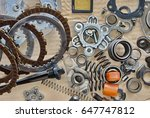 motorcycle engine parts put on... | Shutterstock . vector #647747812